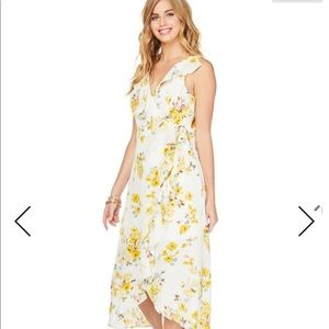 NWT 🌟Charming Charlie Yellow Floral Wrap Dress